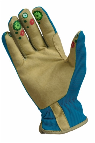The Joy of Gardening Spandex Garden Glove Pair - Blue Sapphire Perspective: back