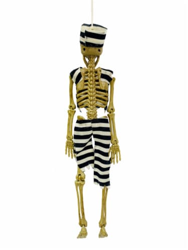 Holiday Home Hanging Convict Dressed Skeleton Decoration Perspective: back
