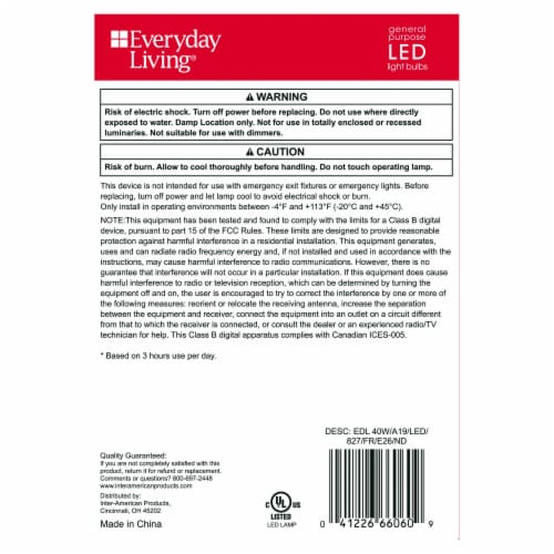 Everyday Living® 6.5-Watt (40-Watt) A19 LED Light Bulbs Perspective: back