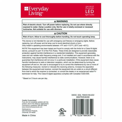 Everyday Living® 11.5-Watt (75-Watt) A19 LED Light Bulbs Perspective: back