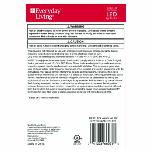 Everyday Living® 4-Watt (40-Watt) A19 LED Light Bulbs Perspective: back