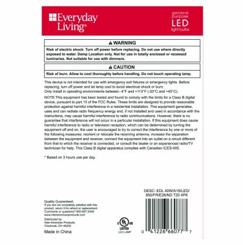 Everyday Living® 5-Watt (40-Watt) A19 LED Light Bulbs Perspective: back
