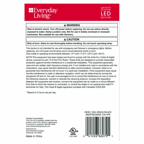 Everyday Living® 8.8-Watt (60-Watt) A19 LED Light Bulbs Perspective: back