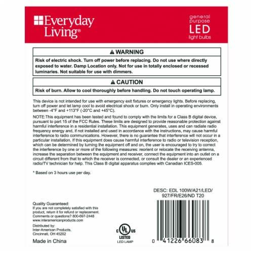 Everyday Living® 16.6-Watt(100-Watt) A21 LED Light Bulbs Perspective: back