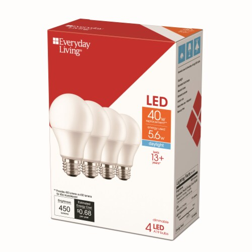 Everyday Living® 5.6-Watt (40-Watt) A19 LED Light Bulbs Perspective: back