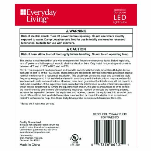 Everyday Living® 12.2-Watt (75-Watt) A21 LED Light Bulbs Perspective: back