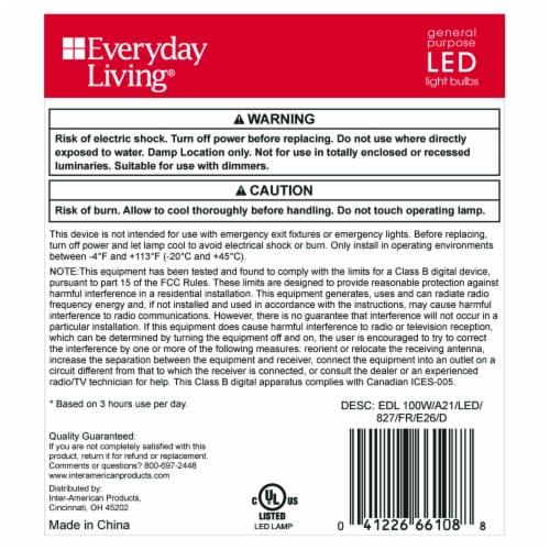 Everyday Living® 16-Watt (100-Watt) A21 Soft White LED Light Bulbs Perspective: back