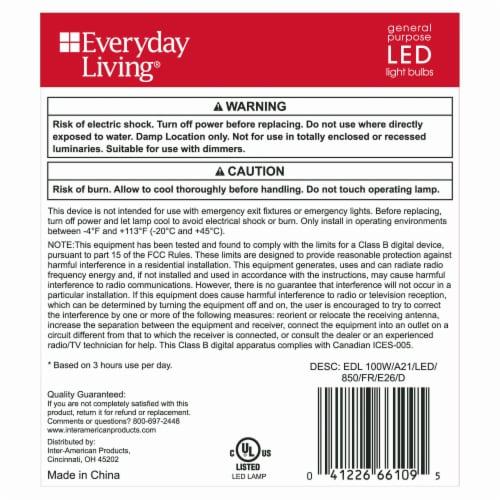 Everyday Living® 16 Watt (100 Watt) A21 Daylight LED Light Bulbs Perspective: back