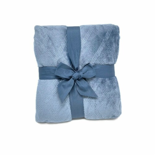 HD Designs® Etched Velvet Blanket - Blue Perspective: back