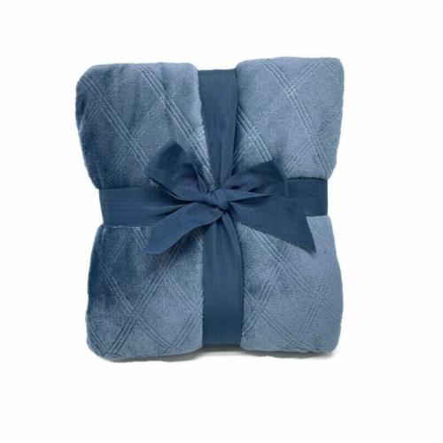 HD Designs® Etched Velvet Blanket - Blue Perspective: back