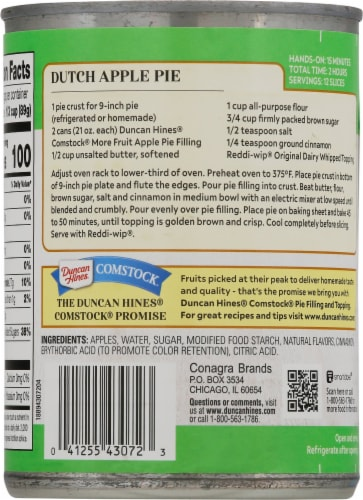 Duncan Hines Comstock More Fruit Apple Pie Filling & Topping Perspective: back