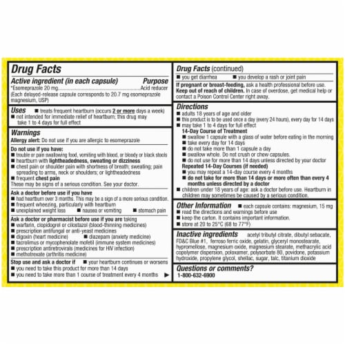 Kroger® Esomeprazole Magnesium Delayed-Release Capsules 20mg Perspective: back