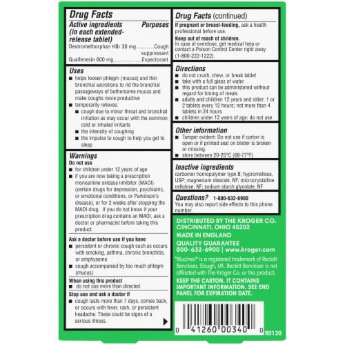Kroger® Mucus Relief ER DM Expectorant & Cough Tablets Perspective: back
