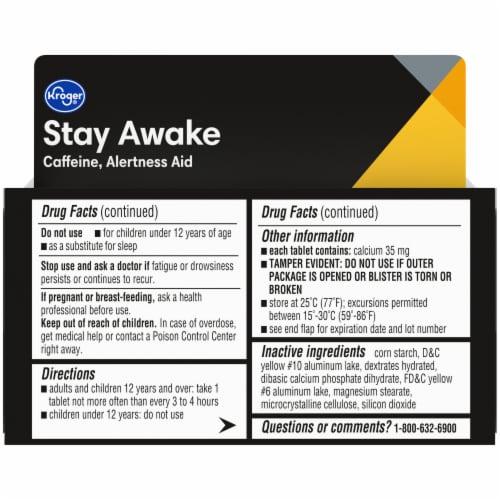 Kroger® Stay Awake Caffeine Tablets 200mg Perspective: back