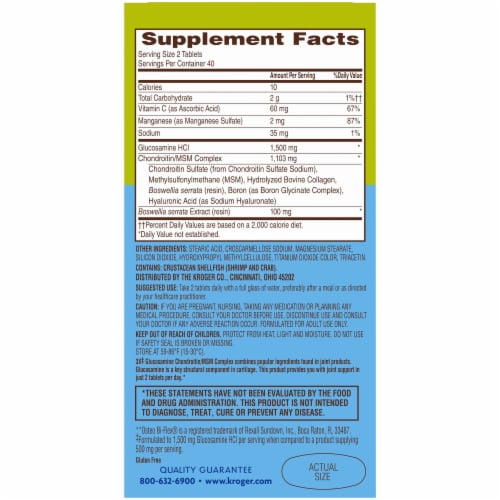 Kroger® 3X Glucosamine Chondroitin/MSM Complex Joint Support Dietary Supplement Tablets Bottle Perspective: back