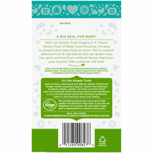 Simple Truth Organic™ 4-Flavor Baby Food Pouches Variety Pack Perspective: back