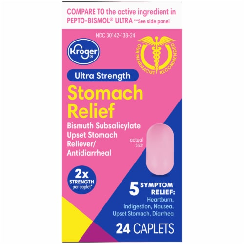 Kroger® Ultra Strength Stomach Relief Caplets Perspective: back