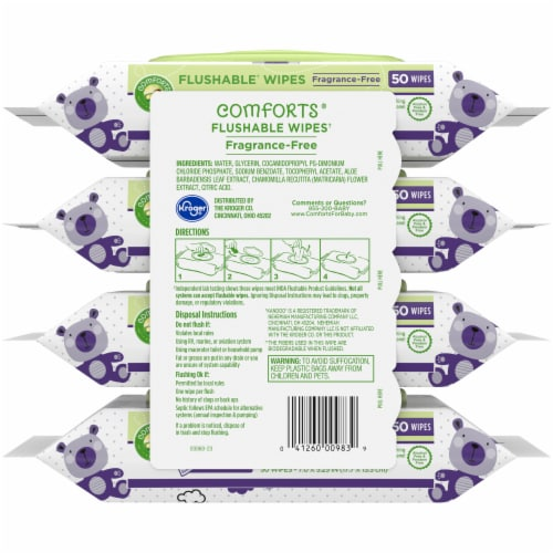 Comforts™ Fragrance-Free Flushable Wipes Perspective: back