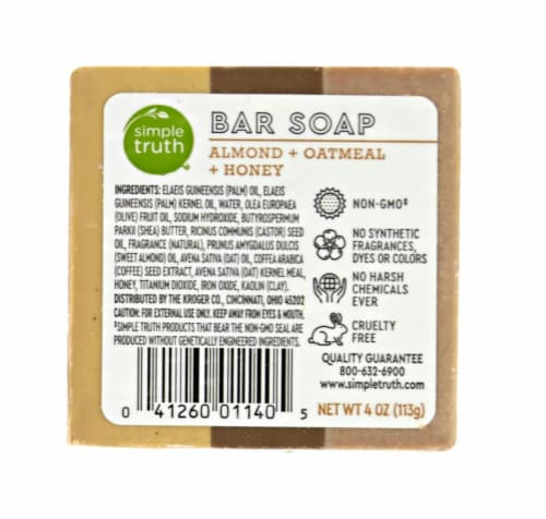 Simple Truth Almond Oatmeal & Honey Bar Soap Perspective: back