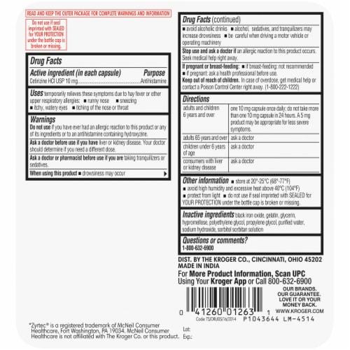 Kroger® Cetirizine HCl Antihistamine Allergy Relief Liquid Gels Perspective: back