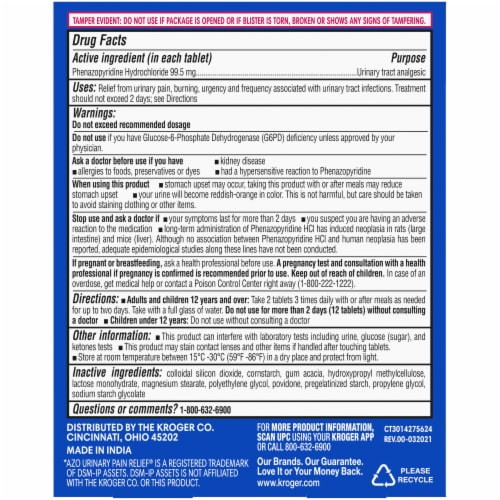 Kroger® Maximum Strength Urinary Pain Relief Tablets Perspective: back