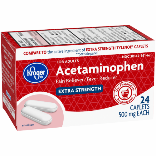 Kroger® Extra Strength Acetaminophen Pain Reliever & Fever Reducer Caplets 500mg Perspective: back