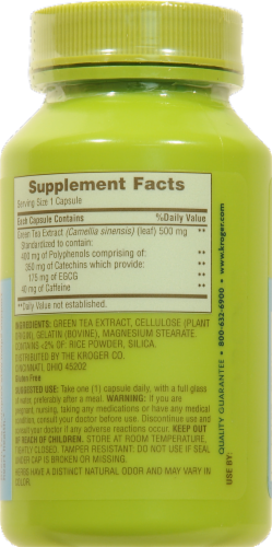 Kroger® Green Tea Antioxidant Support 500mg Capsules Perspective: back