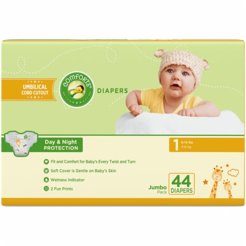 Comforts Size 1 Jumbo Diapers Perspective: back
