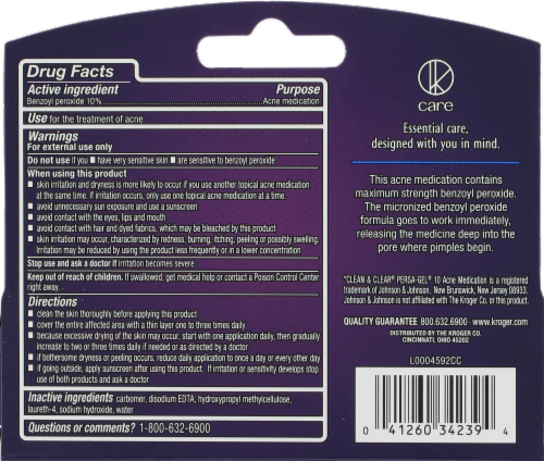 Kroger® Max Strength Acne Gel Treatment Perspective: back