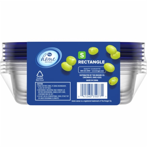 Kroger® Small Rectangle Food Storage Containers - Clear/Blue Perspective: back