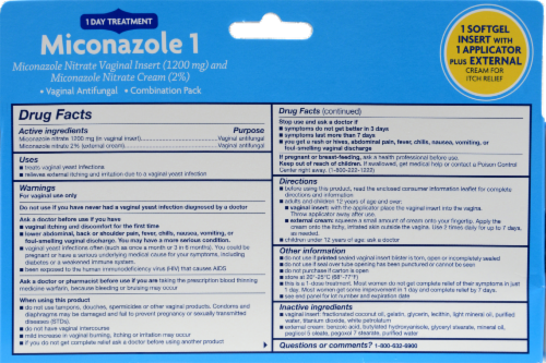 Kroger® Miconazole 1 Vaginal Antifungal Combination Pack Perspective: back