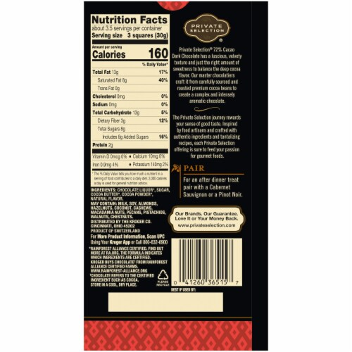 Private Selection® 72% Cacao Dark Chocolate Swiss Bar Perspective: back