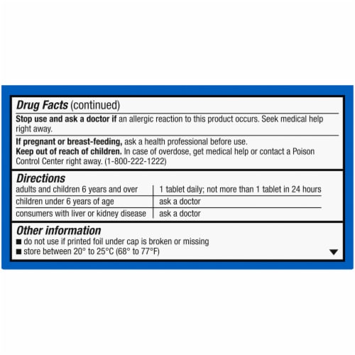 Kroger® Non-Drowsy 24 Hour Allergy Relief Tablets Perspective: back