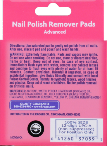 Kroger® Extra Thick Felt Advanced Nail Polish Remover Pads Perspective: back