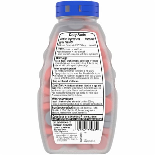 Kroger® Extra Strength Assorted Berry Flavor Antacid Chewable Tablets Perspective: back