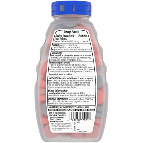 Kroger® Extra Strength Assorted Berry Flavor Smooth Antacid Chewable Tablets Perspective: back