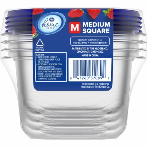 Kroger® Medium Square Food Containers with Lids - Clear/Blue Perspective: back