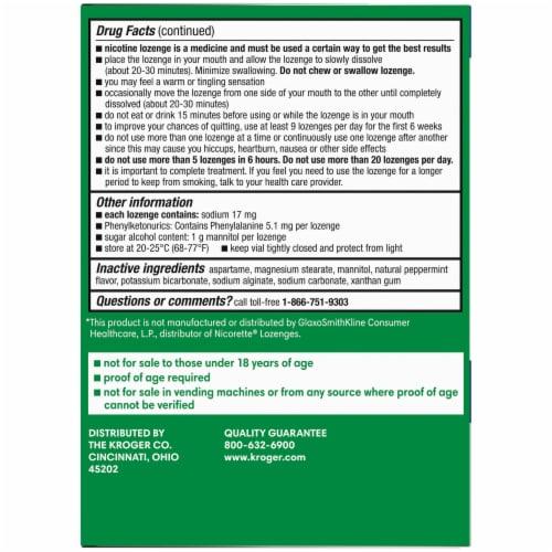 Kroger® Mint Flavor Nicotine Lozenges 2mg Perspective: back