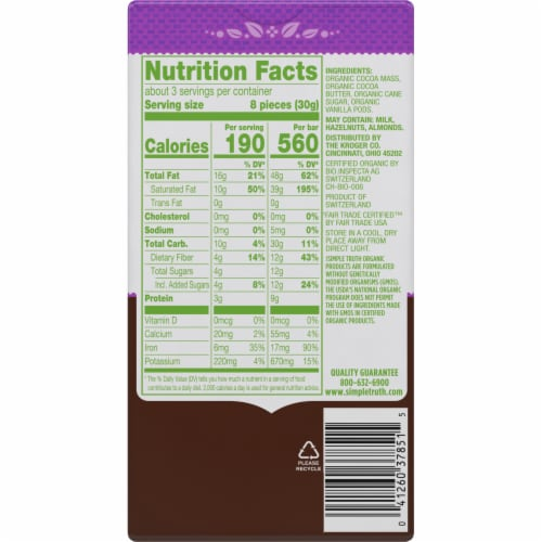 Simple Truth Organic™ 85% Cacao Dark Chocolate Bar Perspective: back