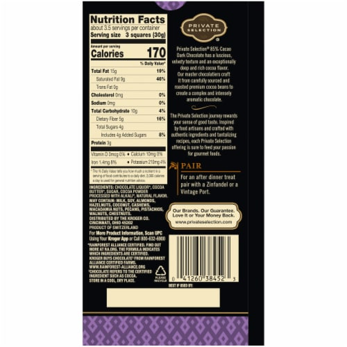 Private Selection® 85% Cacao Dark Chocolate Swiss Bar Perspective: back