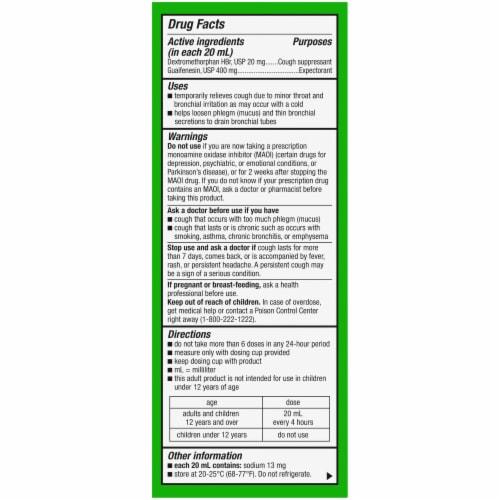 Kroger® Tussin DM Raspberry & Menthol Flavor Cough Suppressant & Expectorant Liquid Perspective: back