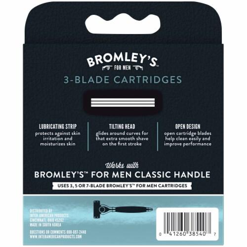 Bromley's™ for Men Single Stroke 3-Blade Cartridges Perspective: back