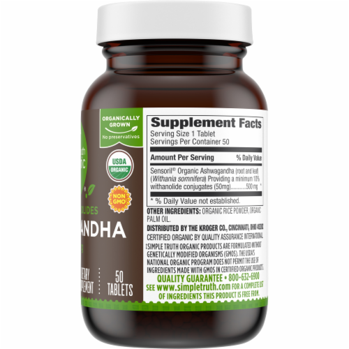 Simple Truth Organic™ Ashwagandha Tablets 500mg Perspective: back