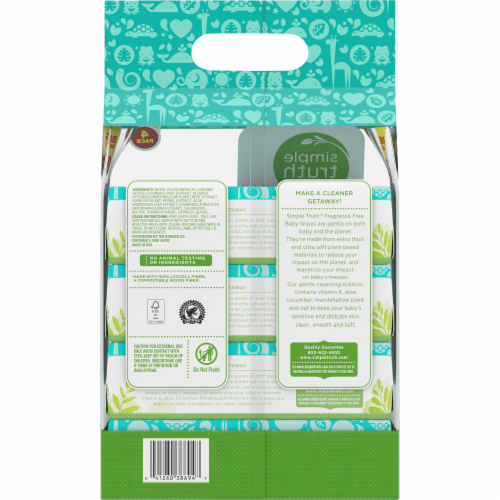 Simple Truth™ Fragrance Free Baby Wipes 64-4 Ct Pack Perspective: back