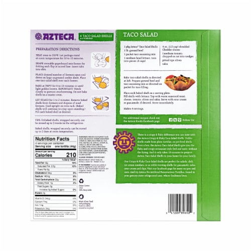 Azteca® Bake & Fill Crispy & Flakey Taco Salad Shells with Formers Perspective: back