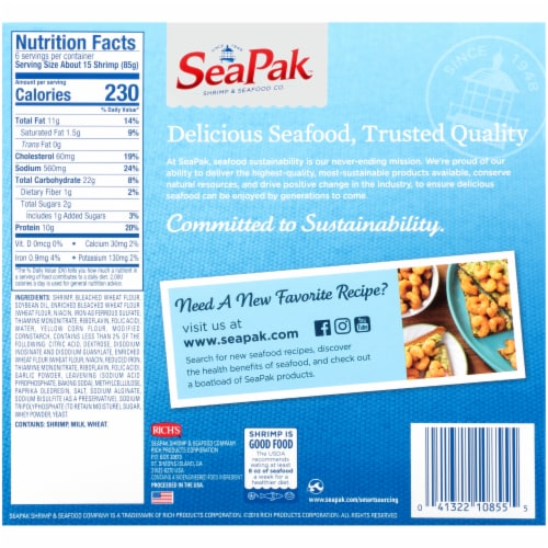 SeaPak Oven Crispy Popcorn Shrimp Perspective: back