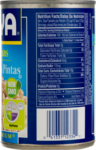 Goya Low Sodium Gluten Free Pinto Beans Perspective: back