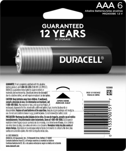 Duracell Coppertop AAA Batteries Perspective: back