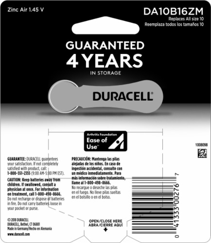 Duracell Size 10 Hearing Aid Batteries Perspective: back