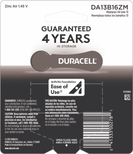 Duracell Size 13 Hearing Aid Batteries Perspective: back